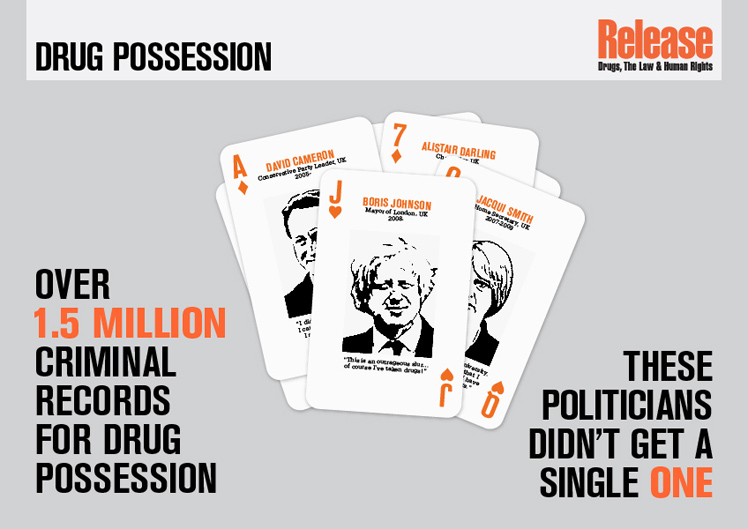 Infographic of the Release playing cards featuring drug using politicians